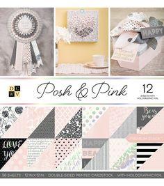 """DCWV 12""""x12"""" Posh & Pink Premium Printed Cardstock Stack"""