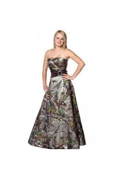 Glamour Bateau A Line Multi Color Camo Wedding Dress GWD004 - Wedding Dresses
