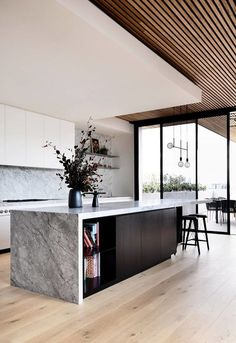 kitchen design gorgeous contemporary kitchen with gray marble slab island and natural wood panel ceiling tom robertson architects modernkitchendes Interior Design Minimalist, Interior Design Kitchen, Home Design, Kitchen Designs, Interior Modern, Modern Interiors, Interior Decorating, Modern Luxury, Coastal Interior