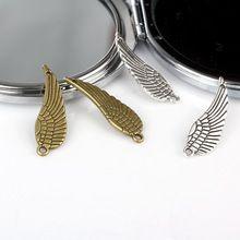 30 * 10 mm del encanto del Metal alas del ángel Vintage bronce / plata de los encantos del conector colgantes del collar Bricolage Material Bisuteria 40 unids/lote(China (Mainland))