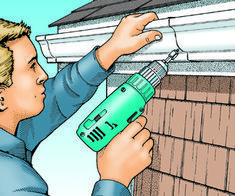 installing gutter on metal roof House Gutters, Diy Gutters, Gutter Colors, How To Install Gutters, Backyard Kitchen, Virginia Homes, Diy Porch, Rain Barrel, Water Features In The Garden
