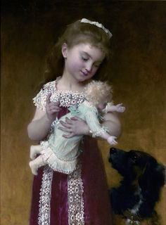 Emile Munier (1840-1895), Girl with Doll and Dog