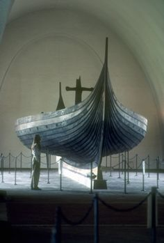 The Gokstad ship, a Viking ship found in a burial mound at Gokstad farm in Sandar, Sandefjord, Vestfold, Norway.  The 9th C. ship was intended for warfare, trade, transportation of people and cargo.  At 76.2 ft long and 17.1 ft wide, built to carry 32 oarsmen, it is the largest of the remarkable three preserved at the Viking Ship Museum, Bygdøy, Oslo, Norway.