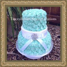 A vintage rosette inspired  wedding cake , this cake can be done in any color to suit your theme and requirements . priced from $350