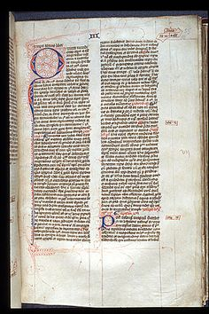 England 1390 Latin and English Puzzle-letter Initial Q. Red-ink purple-ink. illuminated manuscript