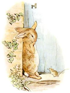 Beatrix Potter. This picture of Peter shedding a tear, sure he'll wind up in a pie like his father, always moved me so much when I was a girl. So precious!