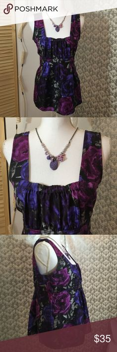 Michael Kors violet roses square neck top Lightly used 23 inches in length 15 inches in width zipper on left side fabric is 100% silk Michael Kors Tops