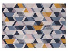 Holden geometrisch handgetuft wollen vloerkleed, X grote, 200 x 300cm, blauwtinten   MADE.com