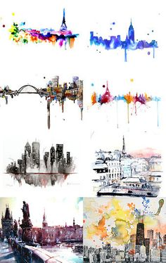 Watercolor Skylines --Pinned with… Painting Inspiration, Art Inspo, Art Design, Art Plastique, Painting & Drawing, Book Drawing, Amazing Art, Incredible Tattoos, Watercolor Paintings