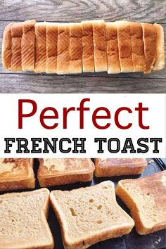 The perfect french toast recipe that is easy to make and cooks perfectly every time. Crisp and crunchy on the outside and soft on the inside! Breakfast Items, Breakfast Dishes, Breakfast Recipes, School Breakfast, Mexican Breakfast, Sunday Breakfast, Breakfast Sandwiches, Breakfast Pizza, Christmas Breakfast