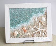 Beach art shell art beach window shell window beach glass art sea glass art beach in frame beach decor coastal decor beach wall art Sea Glass Crafts, Sea Crafts, Sea Glass Art, Sea Glass Decor, Sea Glass Beach, Stained Glass, Broken Glass Art, Shattered Glass, Seashell Art