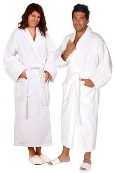 ddadfa7e0f 100% Turkish Cotton Adult Terry Velour Shawl Robe - White - Adult - Small  Medium  Adult Terry Velour Shawl Robe - White - Small Medium