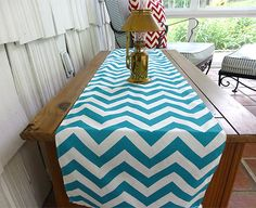 12 x 72 Chevron Teal Table Runner Wedding Gift Baby Shower Table Runners Decorative Holidays on Etsy, $9.99