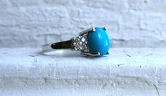 Vintage 14K White Gold Diamond and Turquoise Ring. by GoldAdore on Etsy https://www.etsy.com/listing/182563219/vintage-14k-white-gold-diamond-and