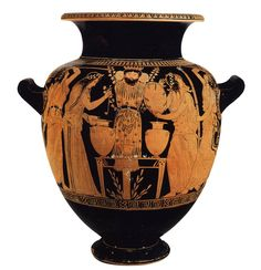 Naples, Museo Nazionale Archeologico. Stamnos. Style: later classical, rich but not ornate. Women or maenads with thrysi and tambourines dance around a pillar idol of Dionysos, festooned with branches and set before a table holding two large stamnoi from which one maenad ladles wine into a skyphos. Date: late 5th c. The image of the god fastened to pillar suggests a festival of Dionysos. The tambourines are new and probably reflect their recent appearance in Athens with the cult of Bendis.