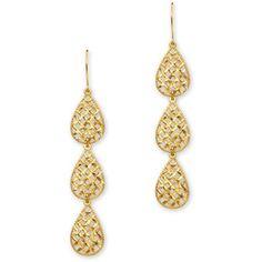 14K Yellow Gold Dangle Filigree Earrings - Item#FR033 - Polyvore