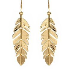 Amrita Singh Gold Leaf Earring ($50) ❤ liked on Polyvore