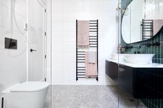 the block 2020 master ensuite harry and task floating black vanity with white tiles Grey Bathrooms, White Bathroom, White Tiles, Green Tiles, Pink Towels, Black Vanity, Luxury Marketing, Terrazzo Flooring, Shower Screen