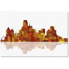 Trademark Fine Art Dallas Texas Skyline Canvas Art by Marlene Watson, Size: 16 x 24, Multicolor