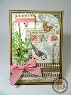 "Botanical Tea ""Celebrate"" card. Annette's Creative Journey"