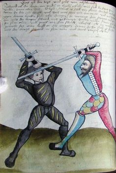 Glasgow Fechtbuch (MS E.1939.65.341), 1508, two longsword fencers attending in Vom Tag (left) and Ochs (right).