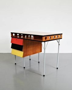 Wim Rietveld; Enameled Metal, Wood and Lacquer Desk, c1950.