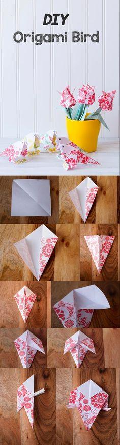 New Origami Bird Wedding Diy Paper Ideas Diy Origami, Origami Swan, Origami Bird, Paper Crafts Origami, Useful Origami, Origami Flowers, Origami Tutorial, Paper Flowers, Oragami