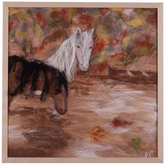 Felted wall hanging, home decor, wool picture, horses, white, brown,... (€190) ❤ liked on Polyvore featuring men's fashion