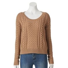 LC Lauren Conrad Cable-Knit Crop Sweater - Women's