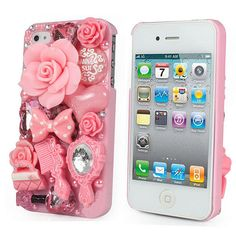 DIY Deco Kit Phone case, Crystal Bling, Pink color , iPhone 5 4S Galaxy S 3 S 4 on Etsy, $8.50