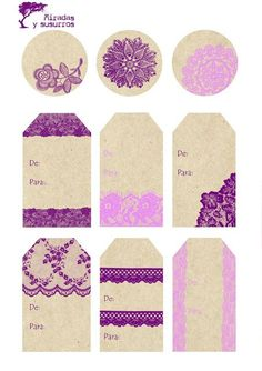 Étiquette beiges et violettes girly.