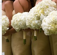 Hydrangea bouquets.... Full, cheap, big impact.