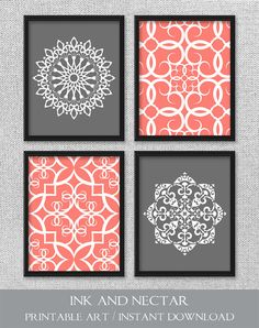 Wall Hangings For Bedroom home decor wall art, aqua and gray flower damask wall hangings