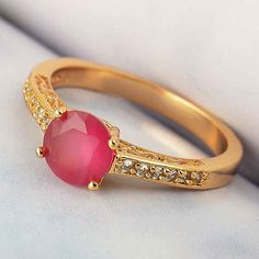 Beautiful Gold Ruby Ring by GlowingEmpire on Etsy, $28.00