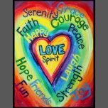 """The words """"Love"""" and """"Spirit"""" are at the center of a yellow gold heart. Rainbow colors radiate out from the heart with different inspirational words: Serenity, Grace, Faith, Courage, Happy, Peace, Hope, Friends, Fun, Laugh, Strength, Joy. These images are designed so as to provide reflection and meditation on positive words. The idea is to think about the painting and it will help you have a positive attitude associated with a word which will be emotionally healing to a person. You can also…"""