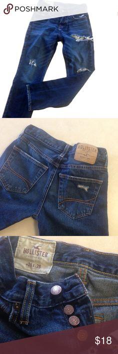 Hollister skinny destroyed jeans dark wash Hollister skinny destroyed jeans dark wash. Good condition. Size W26 x L28. Button fly Hollister Jeans Skinny