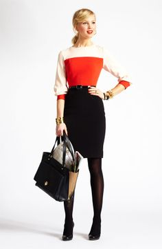 Work: Silk Blouse + Pencil Skirt + Opaque Tights + Black Heels + Ponytail + Black Bag