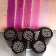 5 Purple MAC Lipsticks: Heroine, Violetta, Up The Amp, Play Time, Quite Cute