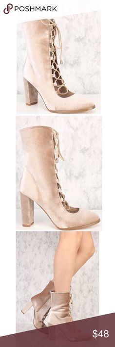 Beige Velvet Lace Up Chunky Booties! 👢 Brand New in a box! 🎀 Worth every 💵! Wear these sexy lace up booties with a sweater dress. The features includes a bold color along with a velvet texture for more style, pointy toe, lace up tie,an inner side zipper, cushion foot-bed, and finished off with a smooth finish comfort. Approximately 4 1/2 chunky heel. Shoes Lace Up Boots