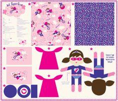 1_yard_doll_template_Lil__Super_Girl_final fabric by stacyiesthsu on Spoonflower - custom fabric