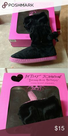Betsy Johnson slipper boots,  brand new,  in box Cozy,  cute little slipper boots.  Size Small 5/6 Betsey Johnson Shoes Slippers
