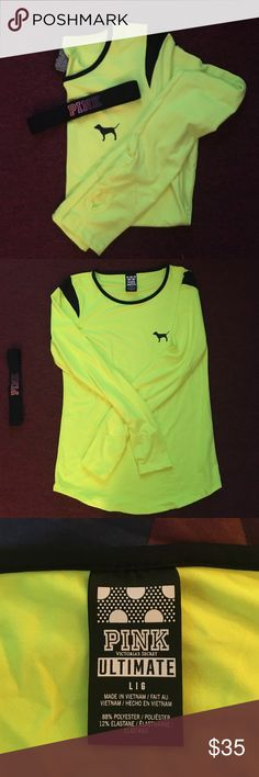 PINK bundle NWOT Ultimate Long Sleeve workout shirt & PINK headband bundle! Shirt is neon yellow w/dog logo in corner & thumb holes in the sleeves. Neither item was ever worn! Smoke/pet free home, same/next day delivery! 💛💛💛 PINK Victoria's Secret Tops Tees - Long Sleeve