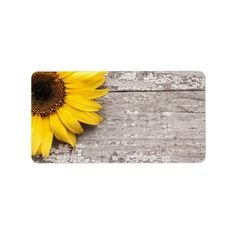 Sunflower on a Wooden Table Label - rustic gifts ideas customize personalize