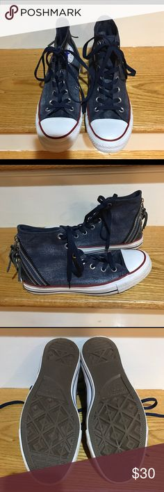 Converse Chuck Taylor All Star Hi Tops Denim material. Says size 6 but that  must be men s because they fit women s 8 or Converse Shoes Sneakers ac61b9dae