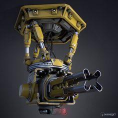Sci Fi Weapons, Weapons Guns, Fantasy Weapons, Military Weapons, Robot Concept Art, Weapon Concept Art, Sci Fi Waffen, Gun Turret, 70s Sci Fi Art