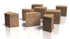 Tabouret contemporain en carton pouf linea ECO by Paolo Gentile drydesign
