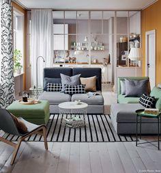 Salon avec table basse et bout de canapé