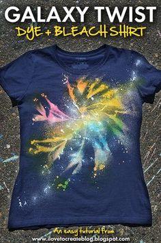 Galaxy Twist Dye + Bleach Shirt using Tulip One-Step Spray Dye and Tulip Fabric Spray Paint
