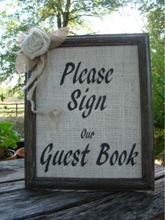 burlap backdrops wedding | Wedding Guest Book Sign - Rustic Burlap
