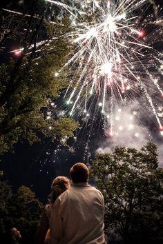Fireworks make for great wedding night photos.